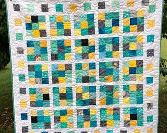 Price Reduced - Aqua, gray, and Yellow Toddler, Large Baby Quilt, or Throw with Gray Minky Back - Sale