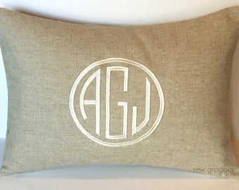 CIRCLE MONOGRAM Pillow Cover. Made to fit a 12 x 16 throw pillow insert. Rustic Farmhouse Decor. Cottage Chic Pillow. Modern Shabby Chic.