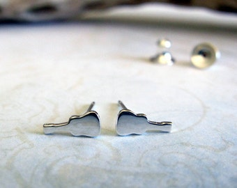 Classical guitar stud earrings. Tiny acoustic guitar jewelry. Sterling silver or 14k gold. Minimalist musician. Music lover teacher gift.