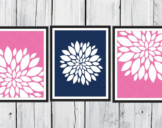Floral Print Set - Bathroom Decor -  3 Print Set Custom Colors and Size -  Blooms