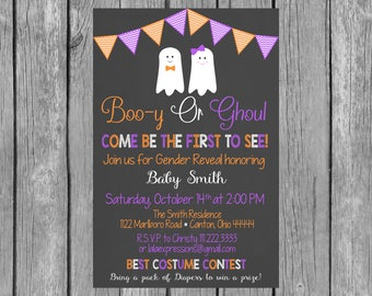 Halloween - Boo-y or Ghoul Gender Reveal Invitation  Gender Reveal Invite