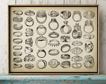 ANTIQUE RINGS CHART Print, Jewelry Poster, Jewelry Design, Ancient Rings, Assyrian, Scandinavian, Greeks, Egyptians, Talisman, Slavs, Romans