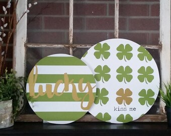 St. Patrick's Day Home Decor. Holiday Wood Signs. These Beautiful Rounded Wood Signs are perfect For Your St. Patty's Day Decor. Lucky Sign