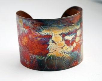 Etched Copper Cuff  Bracelet - pattern design - large size - SALE 20% off - was 50 dollars