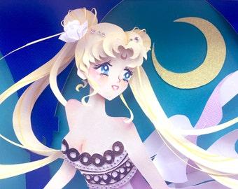 Sailor Moon 3D paper cut illustration