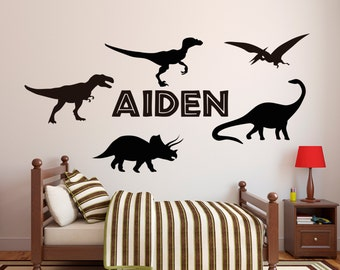 Name Dinosaurs Wall Decal   Custom Name Decal   Boys Room Wall Decal   Kids Wall  Decal   Dinosaur Theme Set Vinyl Wall Decal
