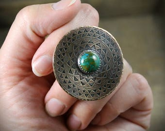 READY TO SHIP - Etched Brass Mandala with Chrysocolla and Sterling Silver Shank - Size 5.5