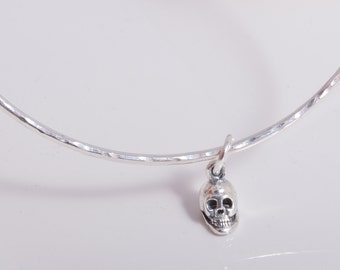 Sterling silver round hammered skull bangle handmade 925 silver bangle with skull