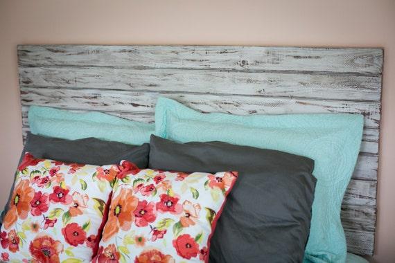 Rústico blanco rey tamaño cabecera cabezal flotante cama de
