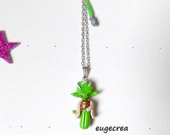 Little green Pixie collar and his sword in fimo and stainless steel