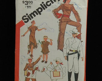 Vintage 1981 Lone Ranger Tonto Simplicity Pattern 5298 Kids Size 10-12