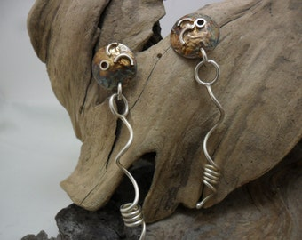 Earrings sterling silver crosslinked and oxidized with fusion