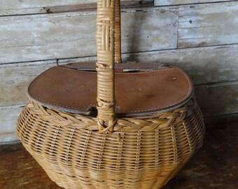 Vintage Basket Woven Leather Rare Find