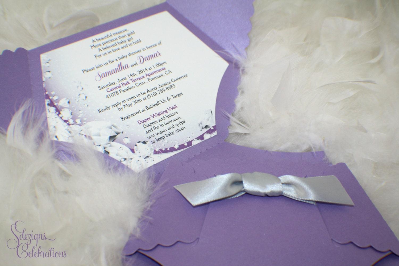 Diaper Baby Shower Invitation or Baby Announcement Diamonds