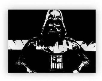 "Star Wars ""Darth Vader"". Mirror hand engraved, sandblasted and coloured spray."