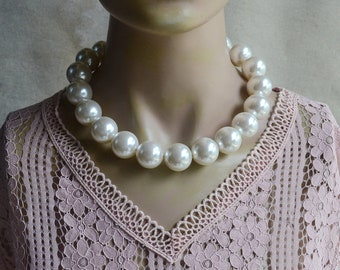 Large Pearl Necklace Etsy