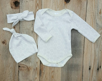 Honeycomb Organic Baby Bodysuit Choice Grey off white Newborn Take home Onepiece Made in Usa Modern Girl Apparel Cheerful Ivy