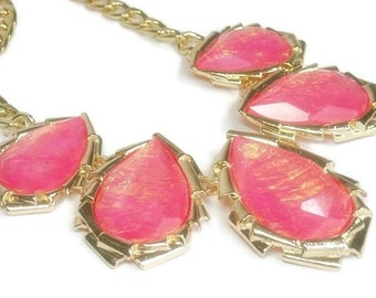 Sale| Coral Rose Opal Collar Necklace - Bib Necklace - Resin Faux Opal - Bridal - Prom - Abalone - Statement - Wedding - Bridesmaid - Jewelr