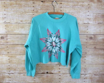 Cute Crop Sweatshirt - Aqua Blue Cropped Crew Neck - Girls Pullover - Pink and Blue Top