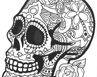 10 MORE Sugar Skull Day Of The Dead Original Art Coloring Book Pages For Adults Dias De Los Muertos Printable