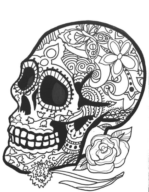 10 MORE Sugar Skull Day of the Dead Original Art Coloring Book