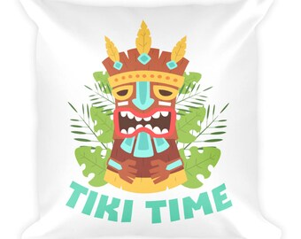 Tiki Time Polynesian Hawaiian Island Tiki Totem Square Pillow