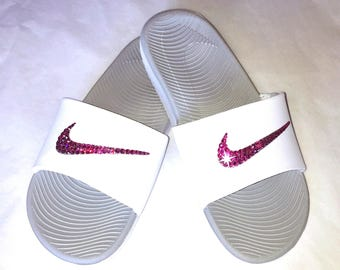 Womens Nike Benassi Slides with hand placed Swarovski crystals - Sparkle  Slides - Swarovski Nike -