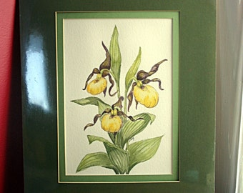 Lady Slipper Original Signed Watercolor Painting with Green Double Mat - Drummond, Michigan, Wild Flower