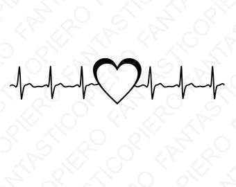 Cardio heart SVG files for Silhouette Cameo and Cricut. Cardio heart beat cutting files heartbeat clipart PNG included.