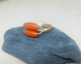 Two Stone Red Adventurine and Gold Wire Wrapped Ring - Size 7 // Gifts for Her