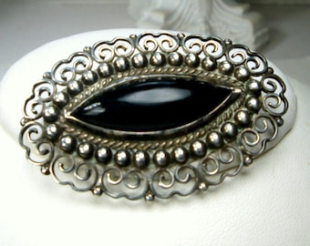 Black Onyx & 925 Sterling Silver Pin, Classic 1960s Made In Mexico Brooch,