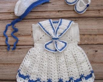 Baby Sailor Dress Set Crochet newborn Baby Girl Dress Set Knit newborn baby girl Sailor Outfit Knit Baby Girl Dress Set Preemie Sailor Dress