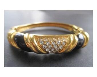 Cuff Hinged Bracelet * Gold Tone * Black Enamel * Rhinestones * Gift For Lady