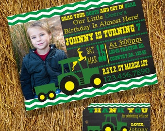 Country Western Tractor Birthday Party Invitation AND Matching Thank You Tags Printable Files