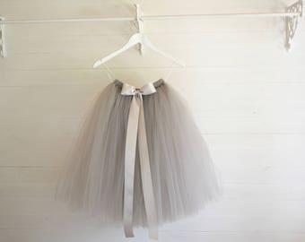 Grey tutu, tutu skirt, flower girl tutu, tulle skirt, bridesmaid dress, tutu skirt, baby tutu, tulle tutu, flower girl dress, birthday tutu