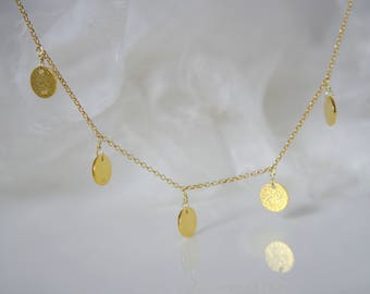Chain silver or gold plated with platelets coins disc necklace with disc coin