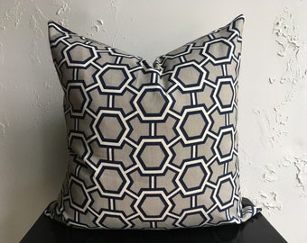 Navy Blue Hexagon Pillow Cover, 18x18 Geometric Decorative Throw Pillow Cover, Jonathan Adler Honeycomb, Grey and Navy Blue Geometric Accent