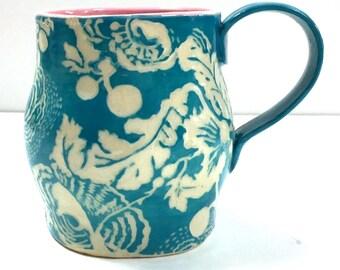 FLORAL Design on Hand Made MUG - SGRAFFITO Carved Flowers - Cup Mug Coffee Tea - Stoneware Art Pottery