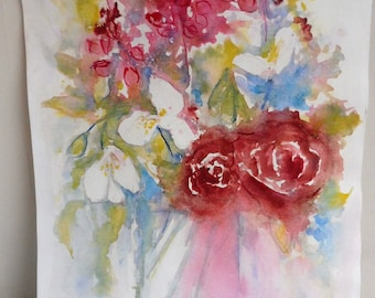 original watercolor painting of flowers red Pink White decor wall MOM gift idea