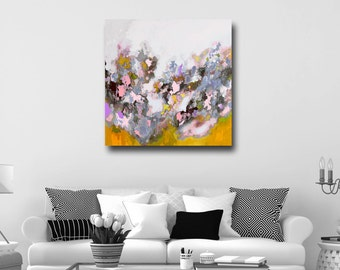 Large Abstract Print, Giclee Print, Wall Art, Canvas Print from Painting, Expressive Canvas Art, Colorful Print, Yellow, Pink, Grey, White