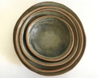 Ceramic Nesting Bowl Set, Ash Green-Gray Stoneware Pottery Bowls