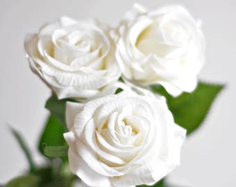 1 Stems Real Touch Rose Cream White Rose Artificial Single Spray Silk Rose