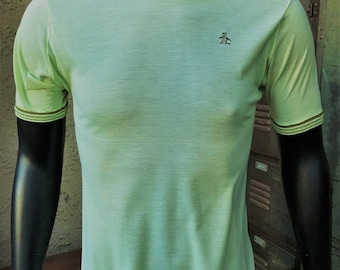 Penguin Grand Slam Vintage 1960's Knit Tee/ Lime Green Retro 60's Knit Shirt/ Rare Vintage Penguin Knit Top Size M/ Made in the USA