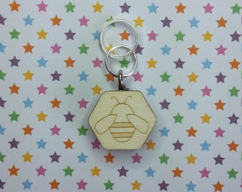 Bee wooden stitch marker - knitting notions - charm