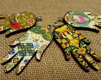 Hamsa Hand Necklace / Hamsa Pendant Necklace / Protection Necklace / Good Vibes Jewelry / Yoga Jewelry / Yogi Necklace / Wood Pendant