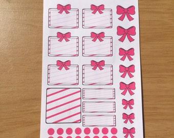 Pink sticker set for Erin Condren, Plum Paper, Filofax, Kikki K (DPD047)