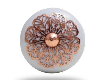 Copper Filigree knob, Delilah Cabinet Drawer Knob Cupboard Dresser Pull