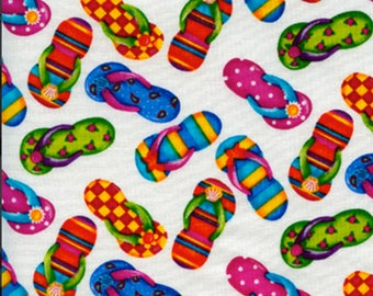 Timeless Treasures Flip Flops Sandles Shoes Summer Beach Tropical by Debi Hron C2495