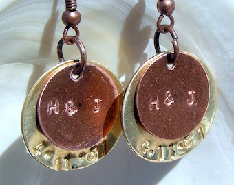 Handstamped Copper and Brass Earrings Jewelry