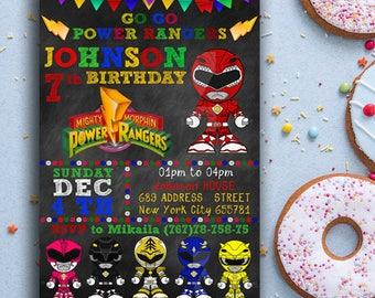 Power Ranger Invitation, Power Ranger Birthday Invitation, Power Ranger Party, Ranger Birthday Party, Power Ranger Party Invite, chalkboard